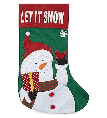 ORNAMENT Snowman felt stocking 40cm