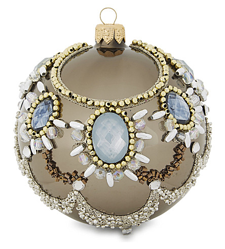 HANGING ORNAMENT Embellished mirrored bauble 10cm