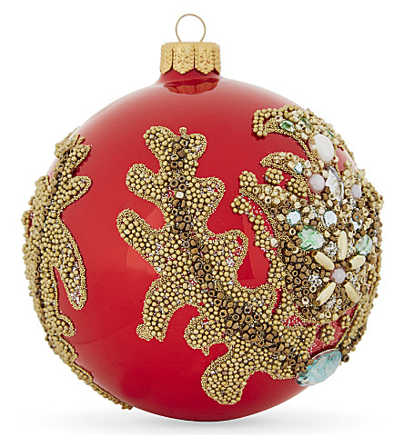 HANGING ORNAMENT Embellished thistle bauble 10cm
