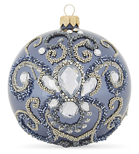 HANGING ORNAMENT Bead embellished bauble 10cm