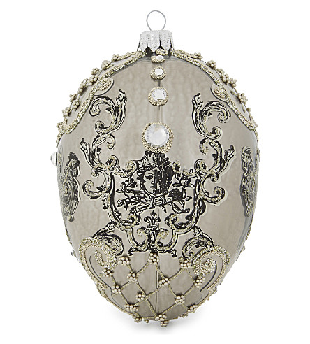 HANGING ORNAMENT Embellished crest egg decoration 12cm