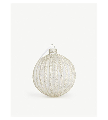 GISELA GRAHAM Glitter striped bauble 8cm