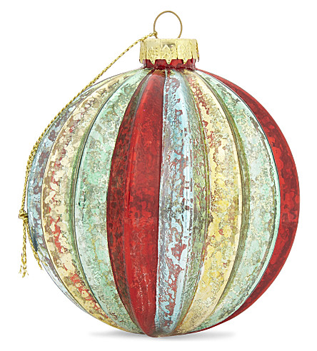 HANGING ORNAMENT Multi-coloured ribbed glass bauble 8cm