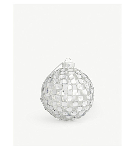 GISELA GRAHAM Gem squares glass bauble 8cm