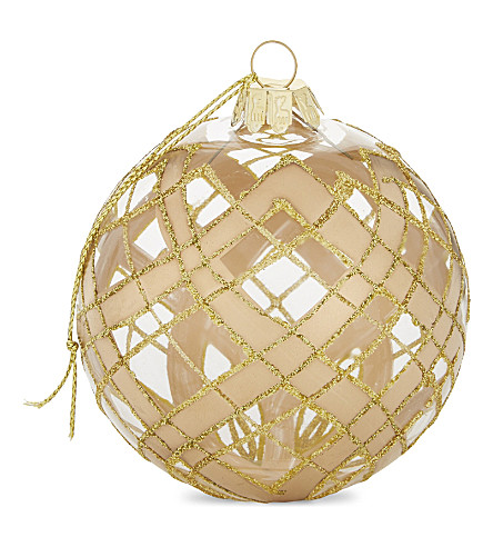HANGING ORNAMENT Glitter glass bauble 9cm