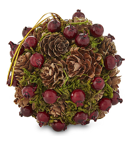 HANGING ORNAMENT Berry pine cone decoration 10cm