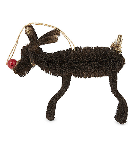 HANGING ORNAMENT Red nose reindeer tree decoration 7cm