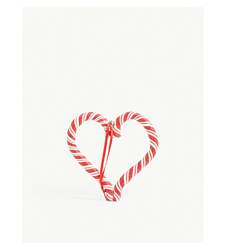 GISELA GRAHAM Candy cane heart decoration 10cm