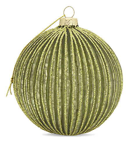 HANGING ORNAMENT Glitter striped bauble 9.5cm