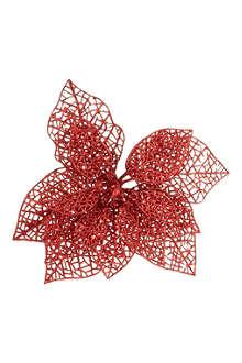 GISELA GRAHAM Red glitter mesh poinsettia clip 18cm