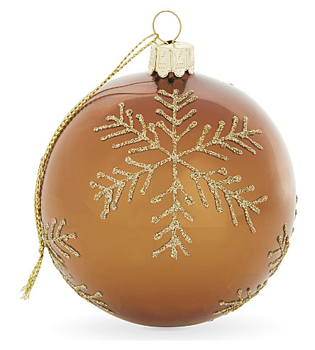 HANGING ORNAMENT Glitter snowflake bauble 8cm