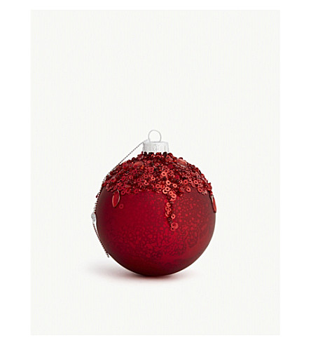 HANGING ORNAMENT Sequin glass bauble 9cm