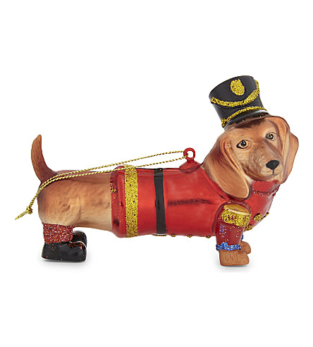 HANGING ORNAMENT Dachshund soldier bauble 11cm