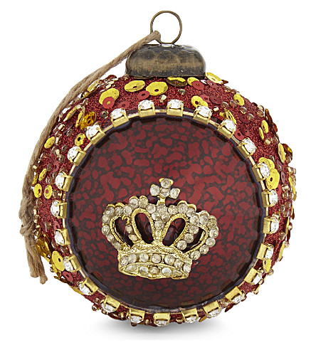 HANGING ORNAMENT Crown glass bauble 8cm