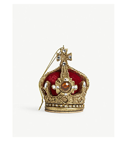 HANGING ORNAMENT Red velvet crown hanging decoration 8cm