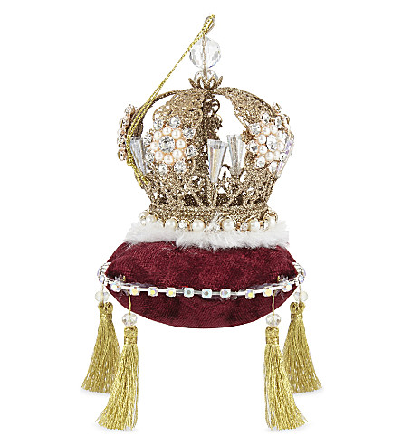 HANGING ORNAMENT Hanging crown with velvet cushion 11cm