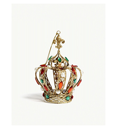 GISELA GRAHAM Jewelled crown hanging decoration 18cm