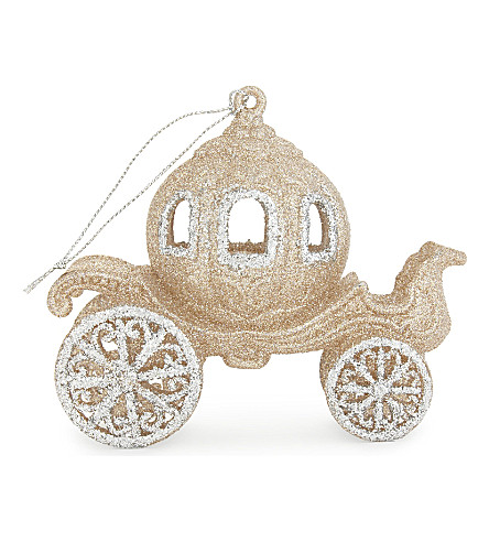 HANGING ORNAMENT Pumpkin carriage tree decoration 11cm
