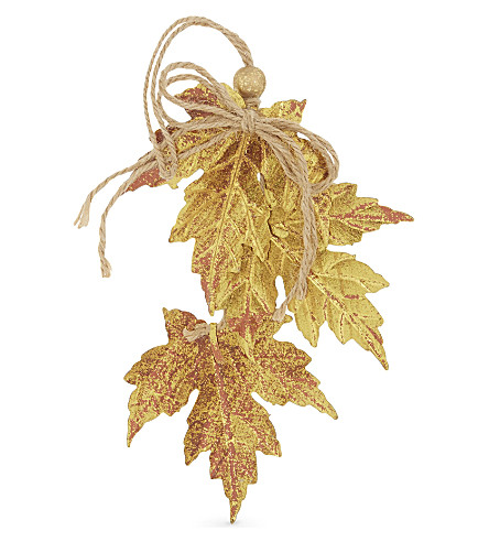 HANGING ORNAMENT Tin maple leaf cluster 18cm