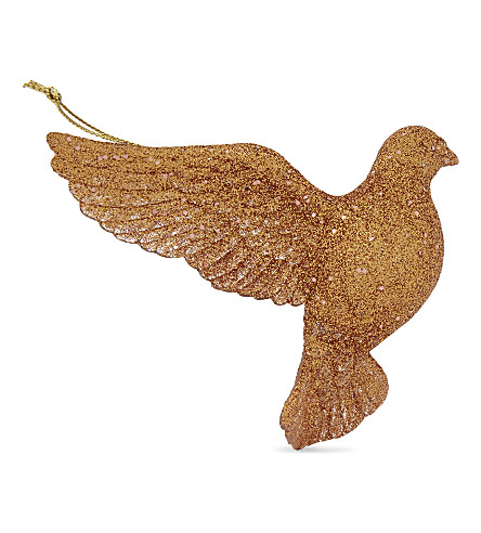 HANGING ORNAMENT Copper gllitter flying dove decoation 9cm