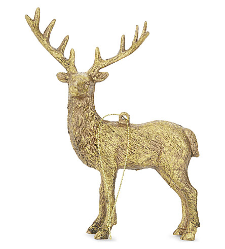 HANGING ORNAMENT Old gold stag decoration 14.5cm