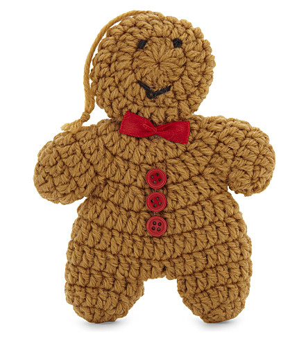 HANGING ORNAMENT Knitted gingerbread man hanging decoration 13.5cm