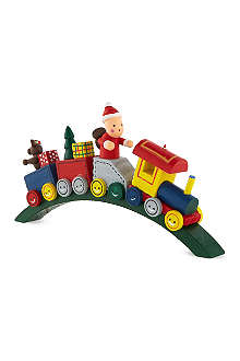 GISELA GRAHAM Santa train wooden decoration