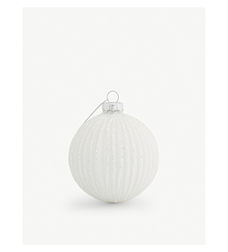 HANGING ORNAMENT Ribbed glitter bauble