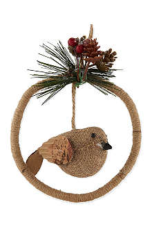 GISELA GRAHAM Hessian bird in ring tree decoration 11.5cm