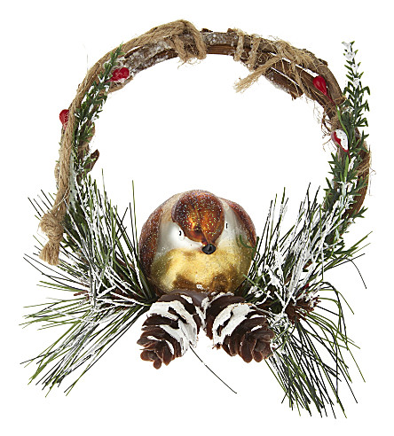 HANGING ORNAMENT Glass robin decoration