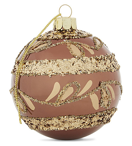 HANGING ORNAMENT Shiny glitter glass bauble 8cm