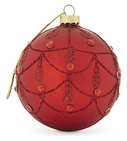 HANGING ORNAMENT Cherry glitter and diamante bauble 7cm