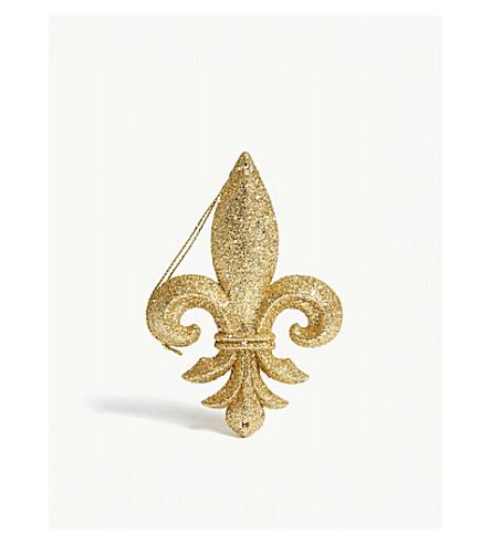 GISELA GRAHAM Fleur-de-Lis glitter hanging ornament 10cm