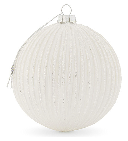 HANGING ORNAMENT Large glitter striped bauble
