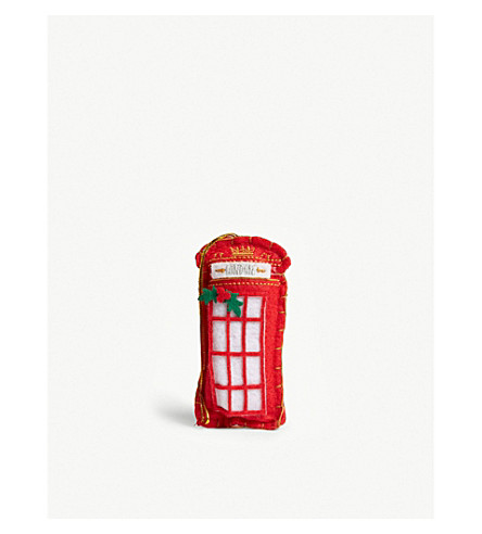 HANGING ORNAMENT Felt phonebox hanging decoration 12cm
