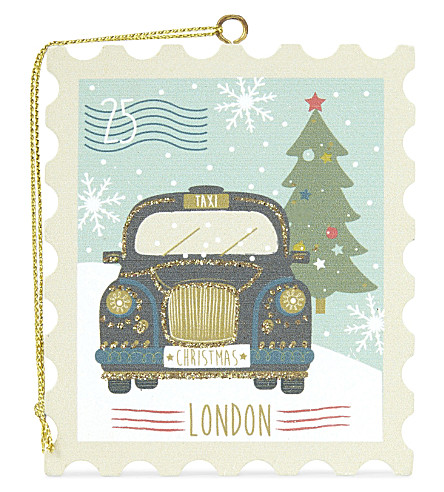 HANGING ORNAMENT Black taxi wooden stamp Christmas decoration