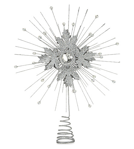 HANGING ORNAMENT Glitter leaf star tree topper 32cm