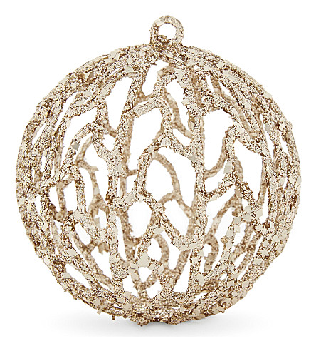 HANGING ORNAMENT Glitter filigree bauble 9cm