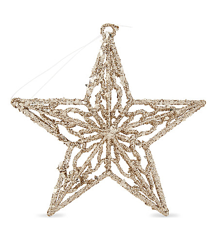 HANGING ORNAMENT Gilttered filigree star 14cm