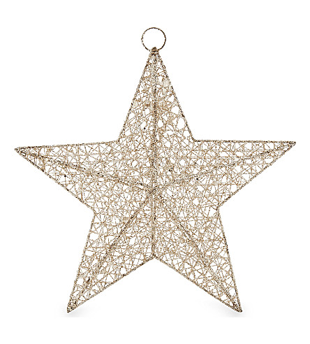 HANGING ORNAMENT Glitter 3D mesh star 31cm