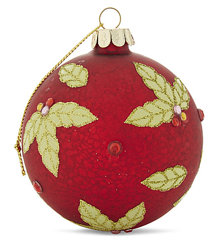 HANGING ORNAMENT Holly bauble 8.5cm