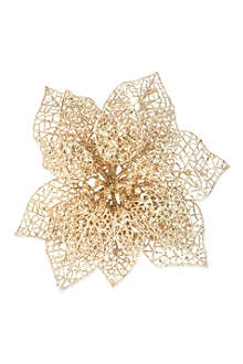 GISELA GRAHAM Glitter poinsettia clip decoration 20cm