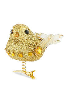 GISELA GRAHAM Clip-on glitter bird decoration 8cm