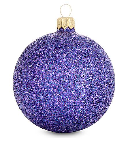 HANGING ORNAMENT Purple glitter bauble 7cm