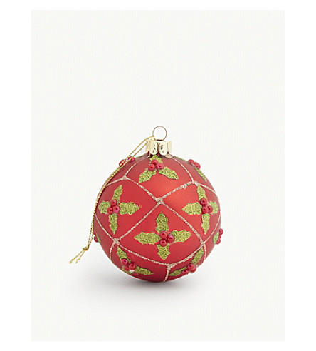HANGING ORNAMENT Glittery holly bauble 8cm