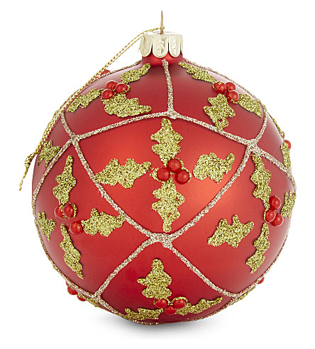 HANGING ORNAMENT Holly-and-berry motif glitter Christmas tree decoration 10cm