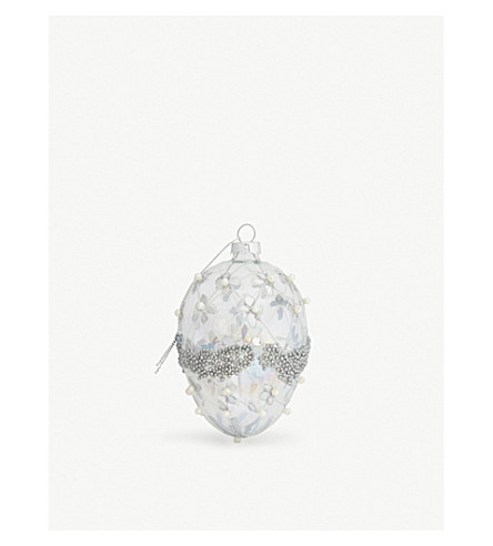 GISELA GRAHAM Beaded glass bauble 12cm