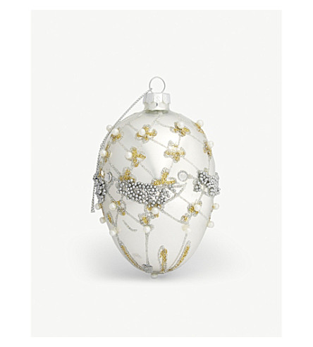 HANGING ORNAMENT Trellis glass egg bauble 10cm