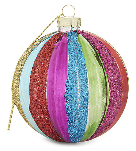 HANGING ORNAMENT Glitter striped glass bauble 8cm