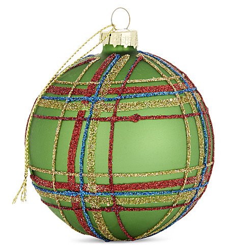 HANGING ORNAMENT Tartan glitter bauble 8cm